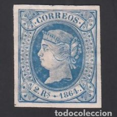 Sellos: ESPAÑA, 1864 EDIFIL Nº 68 /*/, 2 R. AZUL. Lote 294932653