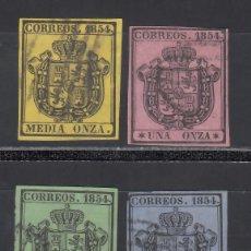 Sellos: ESPAÑA, 1854 EDIFIL Nº 28 / 31, ESCUDO DE ESPAÑA, SERIE DE 4 VALORES.. Lote 294958023