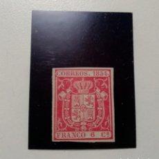 Sellos: ESPAÑA.AÑO 1854.// 6 CUARTOS CARMÍN, NUEVO.. Lote 296068743