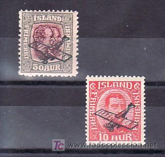 ISLANDIA AEREO 1/2 CON CHARNELA, AVION, SOBRECARGADO, (Sellos - Extranjero - Europa - Islandia)