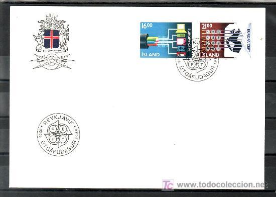 ISLANDIA 635/6 PRIMER DIA, TEMA EUROPA 1988, TRANSPORTE Y COMUNICACION, (Sellos - Extranjero - Europa - Islandia)