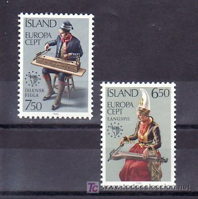 ISLANDIA 585/6 SIN CHARNELA, TEMA EUROPA 1985, AÑO INTERNACIONAL DE LA MUSICA, (Sellos - Extranjero - Europa - Islandia)