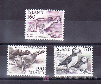 ISLANDIA 511/3 SIN CHARNELA, FAUNA (Sellos - Extranjero - Europa - Islandia)