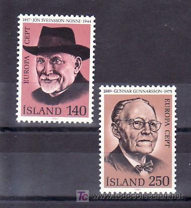 ISLANDIA 505/6 SIN CHARNELA, TEMA EUROPA 1980, LITERATURA, PERSONAJES, (Sellos - Extranjero - Europa - Islandia)