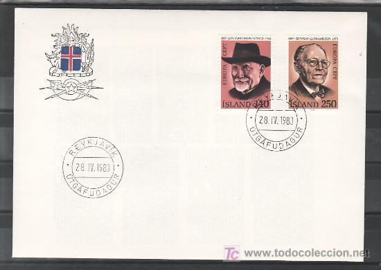 ISLANDIA 505/6 PRIMER DIA, TEMA EUROPA 1980, LITERATURA, PERSONAJES, (Sellos - Extranjero - Europa - Islandia)