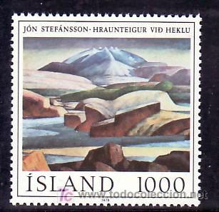 ISLANDIA 488 SIN CHARNELA, PINTURA, OBRA DEL PINTOR JON STEFANSSON, (Sellos - Extranjero - Europa - Islandia)