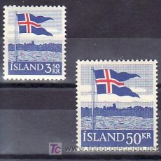 Sellos: ISLANDIA 286/7 CON CHARNELA, BANDERA, 40º ANIVERSARIO DE LA BANDERA, . Lote 11496713
