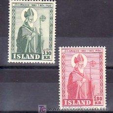 Sellos: ISLANDIA 234/5 CON CHARNELA, 4º CENTENARIO MUERTE OBISPO JON ARASON, . Lote 9805400