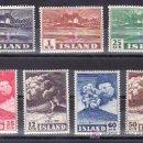 Sellos: ISLANDIA 208/14 CON CHARNELA, COMMEMORACION DE LA ERUPCION DEL VOLCAN HEKLA EN 1947. Lote 11950282