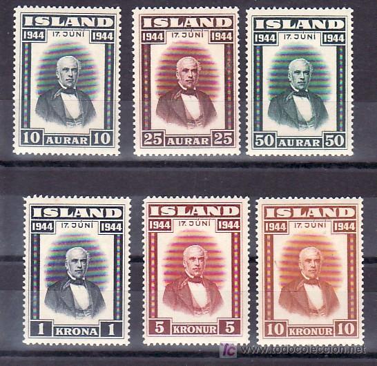 ISLANDIA 202/7 CON CHARNELA, PROCLAMACION DE LA REPUBLICA, (Sellos - Extranjero - Europa - Islandia)