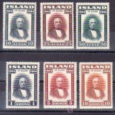 Sellos: ISLANDIA 202/7 CON CHARNELA, PROCLAMACION DE LA REPUBLICA, . Lote 11858556