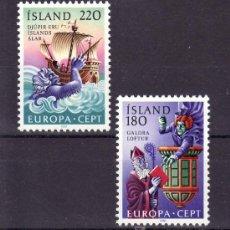 Sellos: ISLANDIA 518/9 SIN CHARNELA, TEMA EUROPA 1981, FOLKLORE, BARCO, . Lote 10558670