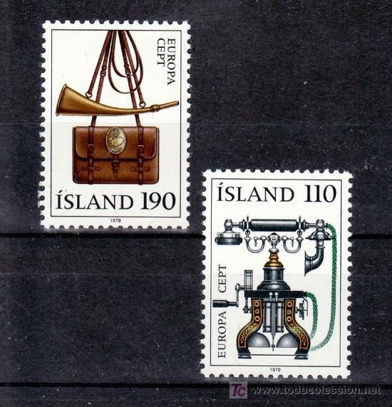 ISLANDIA 492/3 SIN CHARNELA, TEMA EUROPA 1979, TELEFONO, HISTORIA DEL CORREOS (Sellos - Extranjero - Europa - Islandia)