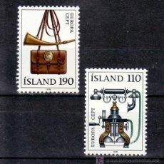 Sellos: ISLANDIA 492/3 SIN CHARNELA, TEMA EUROPA 1979, TELEFONO, HISTORIA DEL CORREOS. Lote 11614404