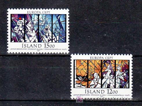 ISLANDIA 618/9 SIN CHARNELA, TEMA EUROPA 1987, VIDRIERA, RELIGION, ARQUITECTURA, MODERNA, (Sellos - Extranjero - Europa - Islandia)