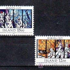 Sellos: ISLANDIA 618/9 SIN CHARNELA, TEMA EUROPA 1987, VIDRIERA, RELIGION, ARQUITECTURA, MODERNA, . Lote 10558491