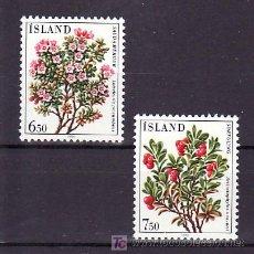 Sellos: ISLANDIA 572/3 SIN CHARNELA, FLORES, . Lote 10558515