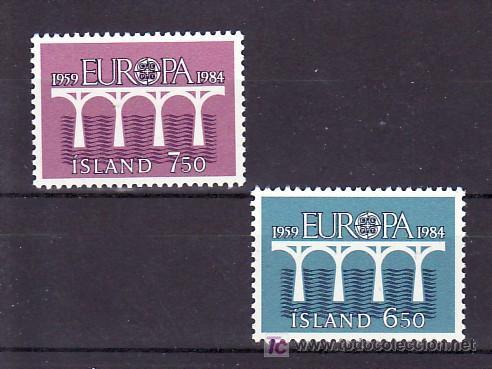 ISLANDIA 567/8 SIN CHARNELA, TEMA EUROPA 1984, 25º ANIVERSARIO CONFERENCIA EUROPEA, (Sellos - Extranjero - Europa - Islandia)