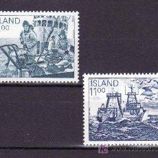 Sellos: ISLANDIA 553/4 SIN CHARNELA, FAUNA, BARCO, PAJARO, AVES, INDUSTRIA DE LA PESCA,. Lote 10558570