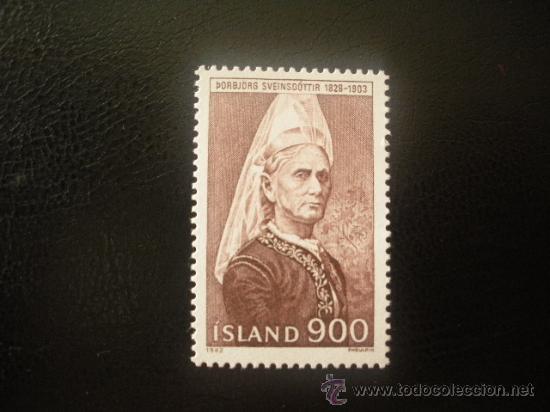 ISLANDIA 1982 IVERT 538 *** PERSONAJES - THORBJORG SVEINSDOTTIR - FUNDADORA ASOCIACIÓN MUJERES (Sellos - Extranjero - Europa - Islandia)