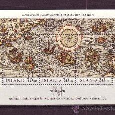 Sellos: ISLANDIA HB 10** - AÑO 1989 - DIA DEL SELLO - MAPA ANTIGUO DEL MAR DEL NORTE. Lote 22644457