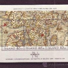 Sellos: ISLANDIA HB 11** - AÑO 1990 - DIA DEL SELLO - MAPA ANTIGUO DE LOS PAISES NORDICOS DE OLAUS MAGNUS. Lote 22644593