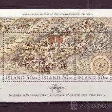 Sellos: ISLANDIA HB 12** - AÑO 1991 - MAPA ANTIGUO DE ISLANDIA DE OLAUS MAGNUS. Lote 22644743