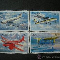 Sellos: ISLANDIA 1997 IVERT 817/20 *** AVIONES DE TRANSPORTE DEL CORREO EN ISLANDIA. Lote 25721588