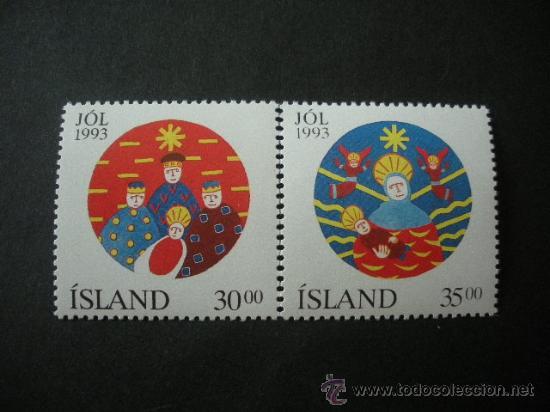 ISLANDIA 1993 IVERT 748/9 *** NAVIDAD - DIBUJO NAIF (Sellos - Extranjero - Europa - Islandia)