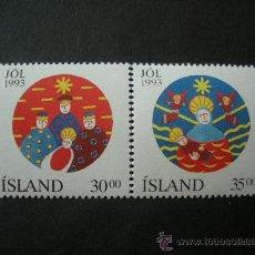 Sellos: ISLANDIA 1993 IVERT 748/9 *** NAVIDAD - DIBUJO NAIF. Lote 25721860