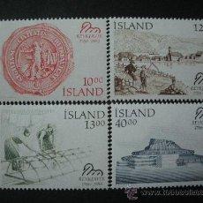 Sellos: ISLANDIA 1986 IVERT 607/10 *** BICENTENARIO DE REYKJAVIK - PAISAJES Y MONUMENTOS. Lote 25722797