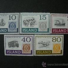 Sellos: ISLANDIA 1973 IVERT 426/30 *** CENTENARIO DEL SELLO - MEDIOS DE TRANSPORTE. Lote 25723131