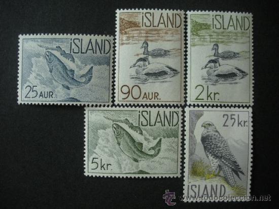ISLANDIA 1959-1960 IVERT 294/8 *** FAUNA - AVES Y PECES (Sellos - Extranjero - Europa - Islandia)