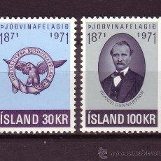 Sellos: ISLANDIA 408/09*** - AÑO 1971 - CENTENARIO DE LA SOCIEDAD PATRIOTICA. Lote 26337448