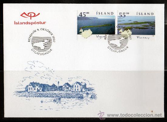 ISLANDIA AÑO 2002 YV 947/48 - SPD - ISLAS ISLANDESAS - VISTAS Y PAISAJES - TURISMO - MAPAS (Sellos - Extranjero - Europa - Islandia)