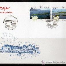 Sellos: ISLANDIA AÑO 2002 YV 947/48 - SPD - ISLAS ISLANDESAS - VISTAS Y PAISAJES - TURISMO - MAPAS. Lote 27481754