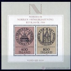 Sellos: ISLANDIA AÑO 1982 YV HB 4*** - EXPOSICIÓN FILATÉLICA NORDIA'84 - ESCUDOS - HERÁLDICA. Lote 27481823
