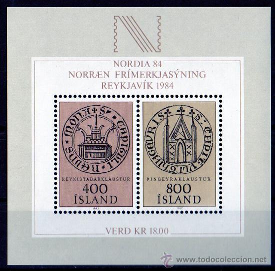 ISLANDIA AÑO 1982 YV HB 4*** EXPOSICIÓN FILATÉLICA NORDIA'84 - ESCUDOS (Sellos - Extranjero - Europa - Islandia)