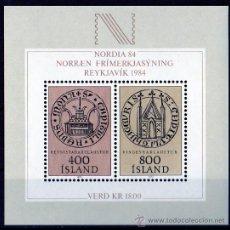 Sellos: ISLANDIA AÑO 1982 YV HB 4*** EXPOSICIÓN FILATÉLICA NORDIA'84 - ESCUDOS. Lote 27481841