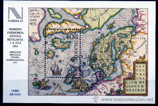 ISLANDIA AÑO 1984 YV HB 6*** EXPOSICIÓN FILATÉLICA NORDIA'84 - MAPAS - CZ SLANIA (Sellos - Extranjero - Europa - Islandia)
