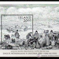 Sellos: ISLANDIA AÑO 1986 YV HB 7*** DÍA DEL SELLO - DIBUJO DE AUGUST MAYER - CZESLAW SLANIA. Lote 27482033