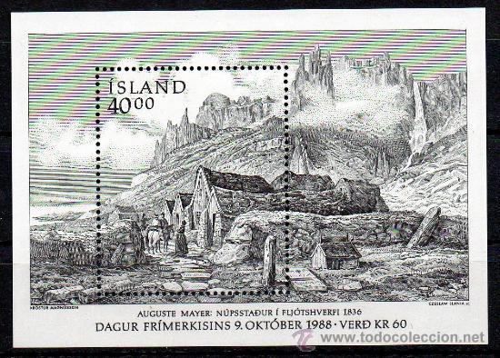 ISLANDIA AÑO 1988 YV HB 9*** DÍA DEL SELLO - PUEBLO DE PESCADORES - CZESLAW SLANIA (Sellos - Extranjero - Europa - Islandia)
