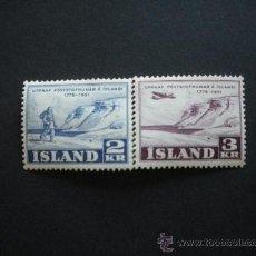 Sellos: ISLANDIA 1951 IVERT 236/7 *** 175 ANIVERSARIO ORGANIZACIÓN DEL SERVICIO POSTAL. Lote 29218261