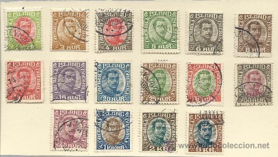 GRAN SERIE COMPLETA MATASELLADA DE ISLANDIA DE 1920 CHISTIAN X MAS DE 110 € DE CATALOGO (Sellos - Extranjero - Europa - Islandia)