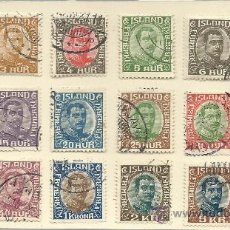 Sellos: GRAN SERIE COMPLETA MATASELLADA DE ISLANDIA DE 1920 CHISTIAN X MAS DE 110 € DE CATALOGO . Lote 31579549
