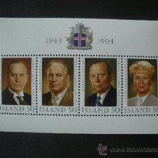 Sellos: ISLANDIA 1994 HB IVERT 16 *** EUROPA - 50º ANIVERSARIO DE LA REPUBLICA - PERSONAJES - PRESIDENTES. Lote 32488999