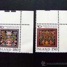 Sellos: ISLANDIA YVERT Nº 509 - 510 ** ARTESANIA BORDADOS. Lote 35029505