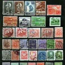 Sellos: LOTE DE 39 ANTIGUOS SELLOS USADOS DE ISLANDIA, POLONIA Y NUEVA CALEDONIA - LOS QUE SE VE EN IMÁGENES. Lote 35995075