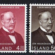 Sellos: ISLANDIA AÑO 1968 YV 379/80*** 50 ANVº DE LA INDEPENDENCIA - JON MAGNUSSON - PERSONAJES. Lote 36139501