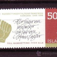 Sellos: ISLANDIA 852*** - AÑO 1998 - 50º ANIVERSARIO DE LA DECLARACIÓN UNIVERSAL DE LOS DERECHOS HUMANOS. Lote 37279249
